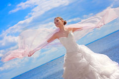A bride at sea Stock Photography