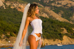 Bride and the sea Royalty Free Stock Photography