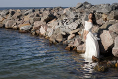 Bride at the sea Stock Image