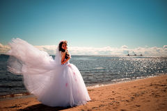 The bride about the sea Stock Images