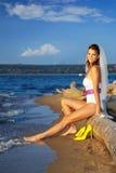 Bride on sea shore royalty free stock photo