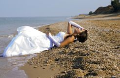 Bride. The bride is the sea in a wedding dress Royalty Free Stock Photos