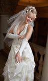 Bride set her gloves. Before romantic meeting Stock Photo