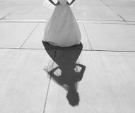 Bride and shadow. Bridal gown and bride plus her shadow Stock Image