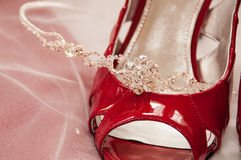Bride Shoe with Tiera Royalty Free Stock Photo