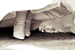 Bride shoes. Toned in sepia Royalty Free Stock Photos