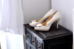 Bride shoes. Pair of shoes for the bride - copy space Stock Photos