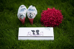 Bride shoes in green grass Stock Images