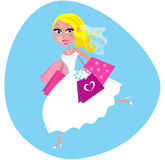 Bride with shopping bags. Bride is preparing before wedding. She is doing her shopping. Vector Illustration of cute Bride in white dress with pink shopping bags Royalty Free Stock Images