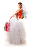 Bride with shopping bags Royalty Free Stock Photo