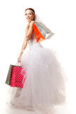 Bride with shopping bags Royalty Free Stock Image