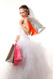 Bride with shopping bags Stock Images