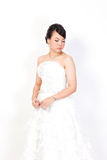 Bride is shopping the white background. Stock Photography