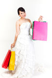 Bride shopping on white background.