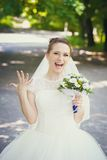 Bride show her ring Royalty Free Stock Image