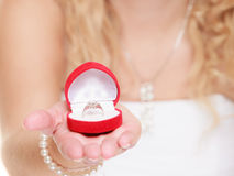 Bride showing engagement or wedding ring Royalty Free Stock Photos