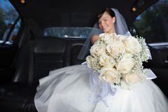 Bride Showing Flower Bouqet Royalty Free Stock Images