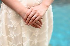 Bride showing her ring. Royalty Free Stock Photo