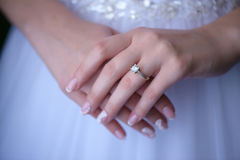 Bride showing proudly the wedding or engagement ring Royalty Free Stock Image