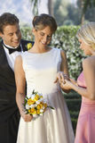 Bride Showing Ring To Her Friend Royalty Free Stock Photography
