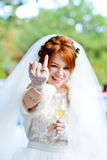 Bride showing wedding ring Stock Photos