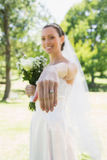 Bride showing wedding ring in garden Stock Images