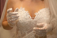 Bride shows off their elegant hands Stock Photo