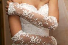 Bride shows off their elegant hands Stock Photos