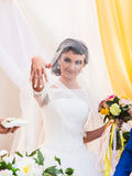 Bride shows a wedding ring on his finger. Beautiful Bride shows a wedding ring on his finger stock image