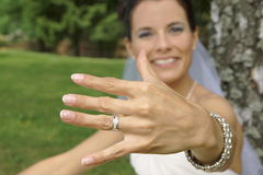 Bride shows you a ring close up Stock Image