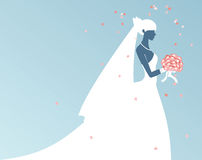 Bride - silhouette. The silhouette of the bride with flowers in hand Stock Photo