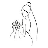 Bride. Silhouette of beautiful bride in outline style with bouquet Stock Photography