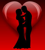 Bride silhouette with love Royalty Free Stock Photos