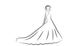 Bride Silhouette, Sketch bride, the bride in a beautiful wedding dress, wedding invitation, vector Royalty Free Stock Photography