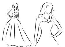 Bride Silhouette, Sketch bride, the bride in a beautiful wedding dress, wedding invitation, vector Stock Images