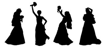 Bride silhouettes set 2 Royalty Free Stock Images