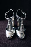 Bride silver shoes Stock Images