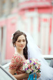 The bride in simple retro dress with floral Stock Photos