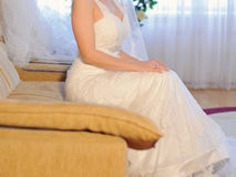 Bride Sitting on Bed Stock Photos