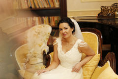Bride sitting on the chair Stock Photo