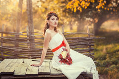 Bride sitting on the closed wooden well. Beautiful bride sitting on the closed wooden well in the autumn park Stock Photography