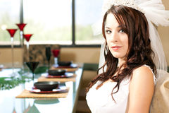 Bride sitting for dinner Royalty Free Stock Photo