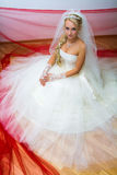 Bride sitting on the floor Royalty Free Stock Images