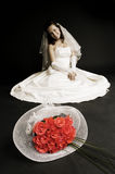 Bride sitting on the floor Royalty Free Stock Photos