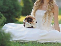 Bride Sitting on Grass Royalty Free Stock Photo