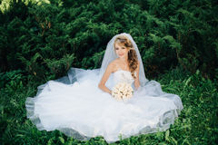 Bride sitting on green grass at park Royalty Free Stock Photos