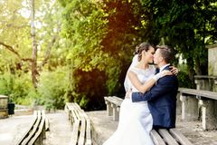 Bride sitting on the groom's knees and kisses him Stock Photos