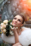 Bride sitting on the stair. Stock Photos