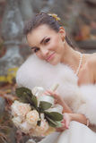 Bride sitting on the stair. Royalty Free Stock Photography