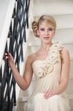 Bride Sitting on Stairs Alone Royalty Free Stock Photo